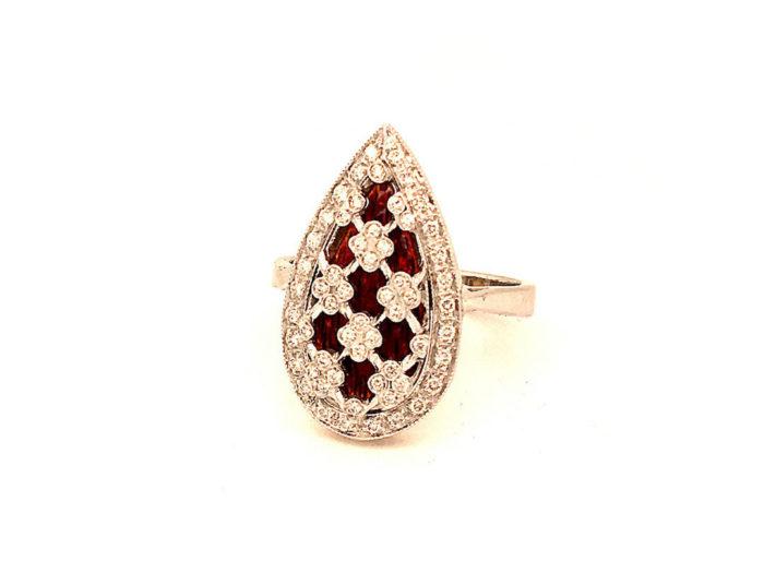 Anello in oro bianco 18kt g. 8,60 con smalti a fuoco translucidi e 58 diamanti naturali taglio brillante colore H VS ct. 0,38 Misura 17 1/2