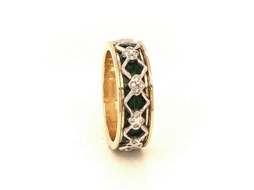 Anello in oro giallo e bianco 18kt g. 6,40 con smalti a fuoco translucidi e 40 diamanti naturali taglio brillante ct 0,15