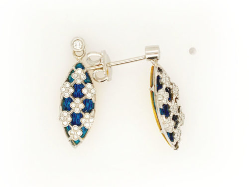 18kt yellow and white gold earrings g. 6.50 with translucent fire enamels and 58 natural brilliant cut diamonds Color H VS 0.28 cts