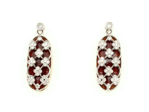 18kt yellow and white gold earrings g. 7.70 with translucent fire enamels and 70 natural brilliant cut diamonds Color H Vs 0.40
