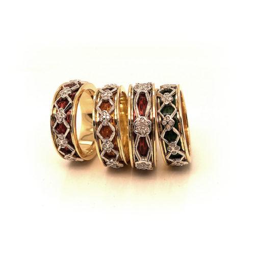 Serie anelli in oro giallo e oro bianco 18kt con smalti a fuoco e diamanti