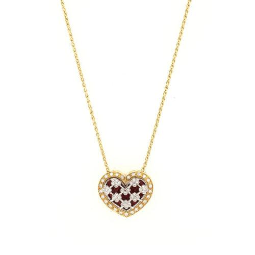 Collana oro bianco e giallo 18kt g. 10,4 con smalti a fuoco translucidi e 57 diamanti naturali taglio brillante Colore H. vs 0,36 cts. Lunghezza cm 42