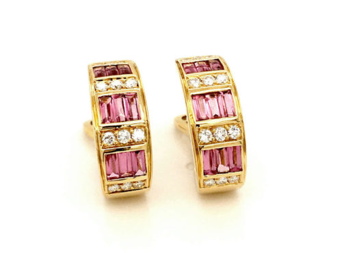 18kt yellow gold earrings g. 10.80 with 18 cabochon cut pink tourmaline baguettes (faceted below) 1.40 cts and 24 natural brilliant cut diamonds Color G VS 0.48 cts