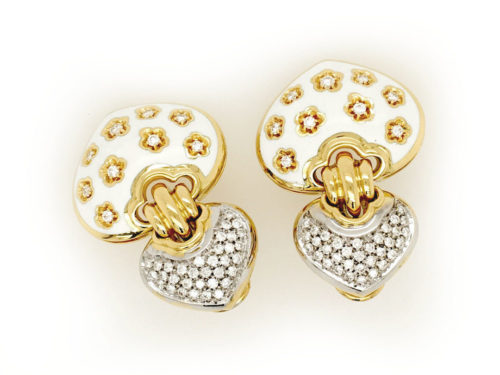 18kt yellow gold earrings g. 30.60 with fire enamel and with 86 natural brilliant cut diamonds. Color G vs 1.16 cts