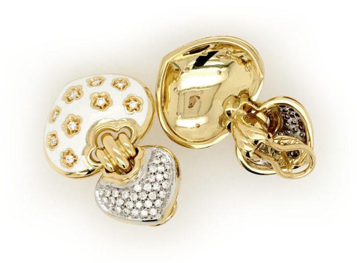 Orecchini in oro giallo 18kt g. 30,60 con smalto a fuoco e con 86 diamanti naturali taglio brillante Colore G vs 1,16 cts