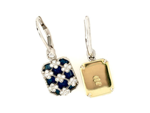 18kt yellow and white gold earrings g. 6.30 with translucent fire enamels and 58 natural brilliant cut diamonds Color H VS 0.34 cts